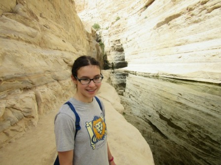 Gabriella Tankel, exploring the caverns during her Grade 9 Talmud Torah trip to Israel.