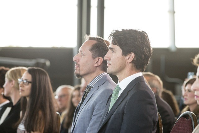 Rabbi Daniel Friedman with Prime Minister Justin Trudeau at the site groundbreaking ceremony.